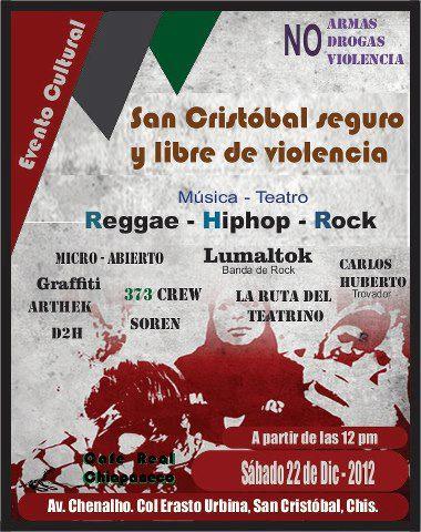 Evento cultural a realizarse este 22 de diciembre en la Avenida Chenalho, Colonia Erasto Urbina a partir de las 12:00 del medio día. La intensión...