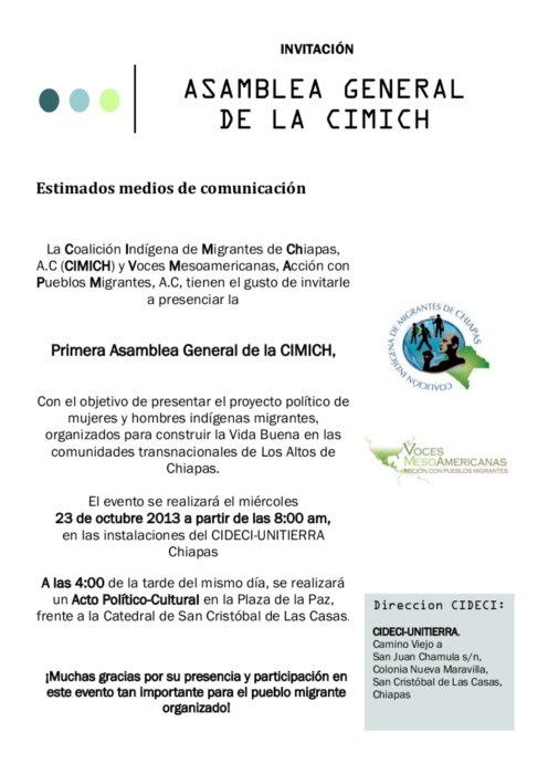 El miércoles 23 de octubre se realizará laPrimera Asamblea General de la Coalición Indígena de Migrantes de Chiapas (CIMICH),a la cual asistirán todas y todos...