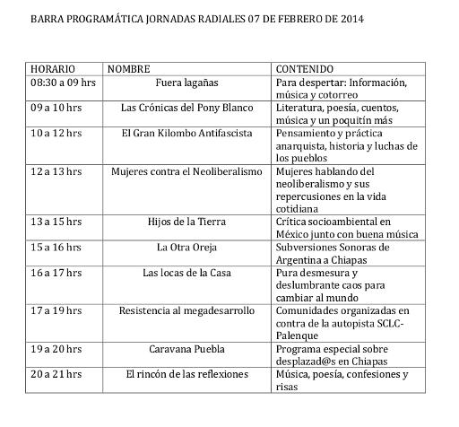 BARRA PROGRAMÁTICA JR 07 DE FEBRERO DE 2014