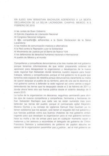 comunicado san sebastián bachajón 5 de febrero 2015 Agua Azul