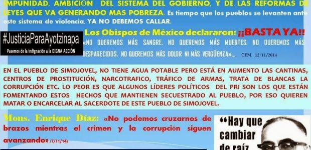 """MAGNA PEREGRINACION VIACRUCIS CUARESMAL 23-26 DE MARZO 2015, DESDE SIMOJOVEL A-TUXTLA GUTIERREZ SITUACIÓN Los Obispos de México declaran: """"Con tristeza reconocemos que la situación del..."""