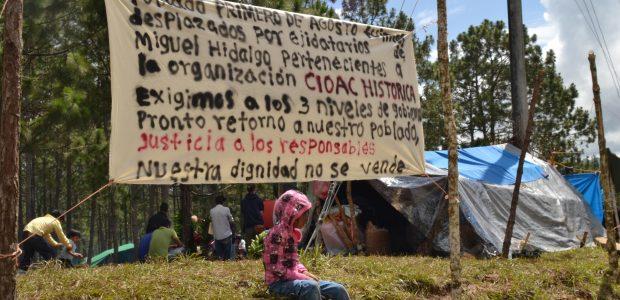 El 23 de febrero de este año 2015, fueron desplazados del poblado Primero de Agosto, 17 familias tojolabales, constituidas por 57 almas originarias del ejido...