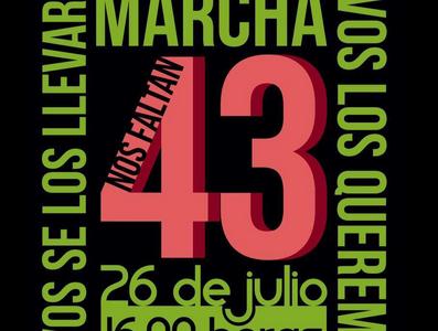 Este domingo 26 de julio de 2015. Sal a marchar por la presentación con vida de los 43 normalistas de Ayotzinapa Información relacionada: INVITACIÓN 14...