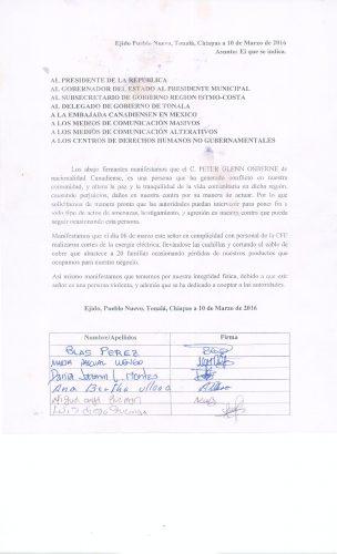 Comunicado Pueblo Nuevo Tonala