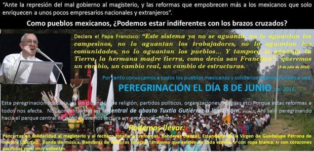 """Pueblo Creyente de Simojovel se levanta en solidaridad al magisterio en pie de lucha """"Ante la represión del mal gobierno al magisterio, y las reformas..."""
