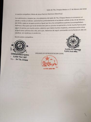 Ejido Tila carta a Marichuy