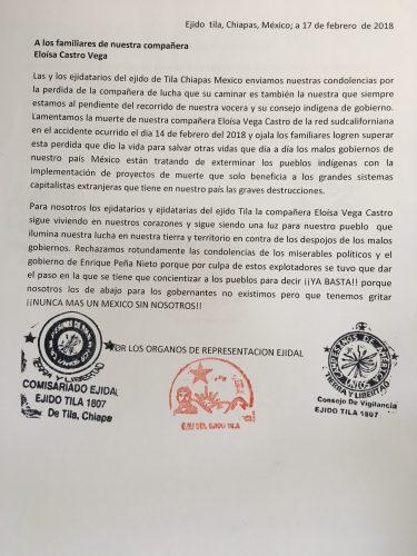 Ejido Tila carta a la familia de compañera Eloisa